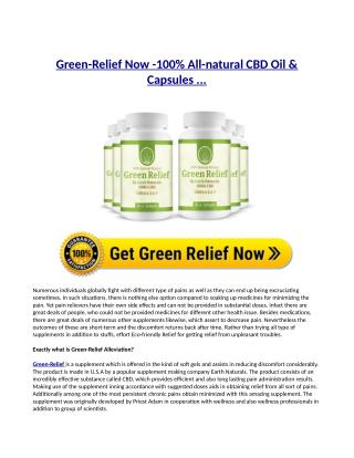 Green Relief Now Reviews, Side Consequences, Active ingredients, Rate up for sale
