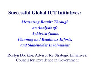 Successful Global ICT Initiatives: