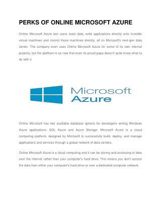 Perks of Online Microsoft Azure