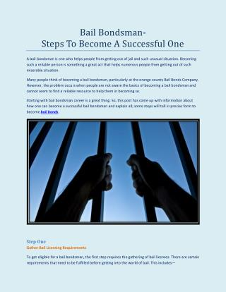 Bail Bondsman—Steps To Become A Successful One