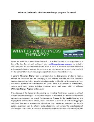 Benefits of wilderness therapy programs for teens?