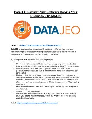 DataJeo Review -(Free) bonus and discount