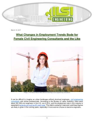 What Changes in Employment Trends Bode for Female Civil Engineering Consultants and the Like