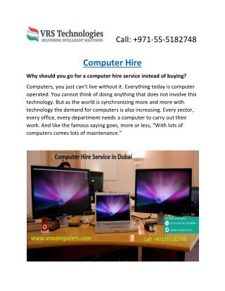 Desktop Rental in Dubai - Desktop Hire - Rent a Computer