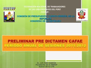PRELIMINAR PRE DICTAMEN CAFAE PERIODO ANUAL DE SESIONES 2011-2012