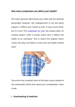 How men's underwear can affect your health?