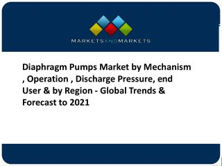 Diaphragm Pumps Market Forecast to 2021 – Application and Company Profiles Analysis
