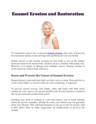 Enamel Erosion and Restoration
