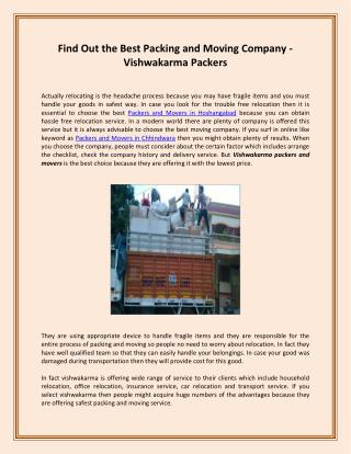 Find Out the Best Packing and Moving Company - Vishwakarma Packers
