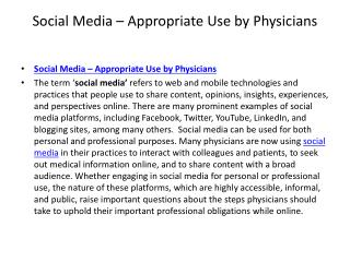 Social media – appropriate use by physicians
