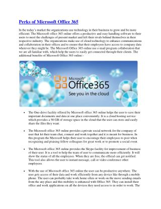 Perks of Microsoft Office 365