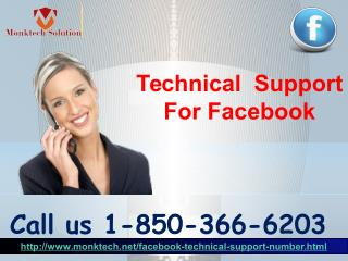 What kind of faults can be solved by the Technical Support For Facebook team 1-850-366-6203?