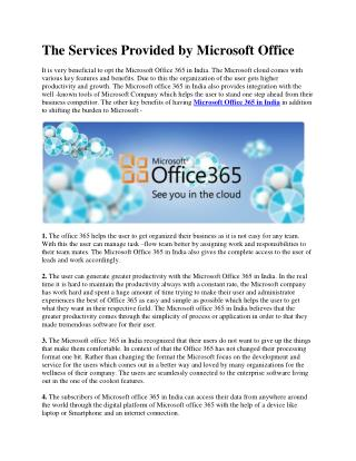 The Services Provided by Microsoft Office