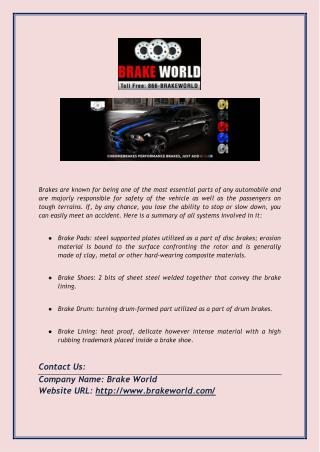 Best Quality Performance Brakes Pads & Rotors at Low Cost
