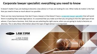 What is a corporate lawyer?