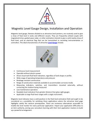 Magnetic Level Gauge Design, Installation and Operation