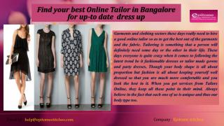 Find your best Online Tailor in Bangalore for up-to date  dress up