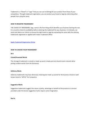 Trademark Registration Application, Brand Registration - Unimarks