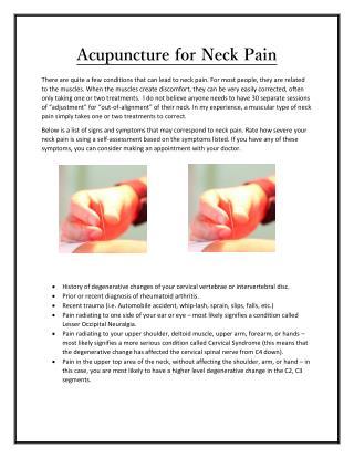 Acupuncture for Neck Pain - jacksonvilleacupuncture.com