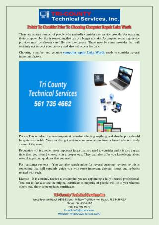 Points To Consider Prior To Choosing Computer Repair Lake Worth