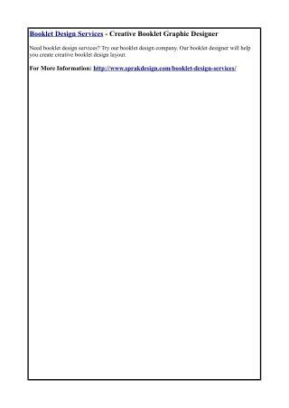 Booklet Design Services - Creative Booklet Graphic Designer