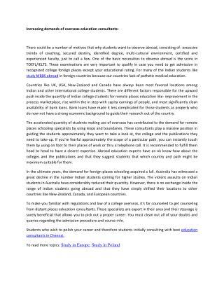 Increasing demands of overseas education consultants
