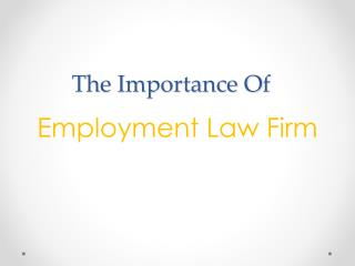 The Importance of Employment Law Firm
