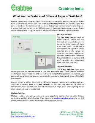 What are the Features of Different Types of Switches?