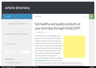 Get healthy and quality products at your doorstep through HUGECART