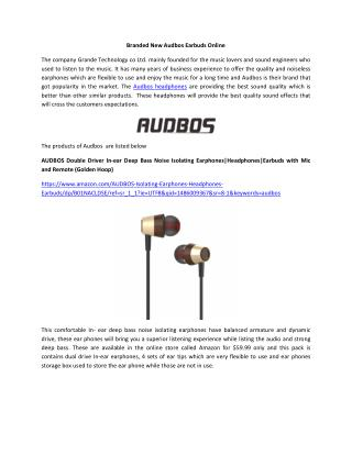 Branded New Audbos Earbuds Online