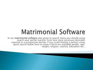 Matrimonial Software Online