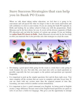Sure Success Strategies that can help you in Bank PO Exam