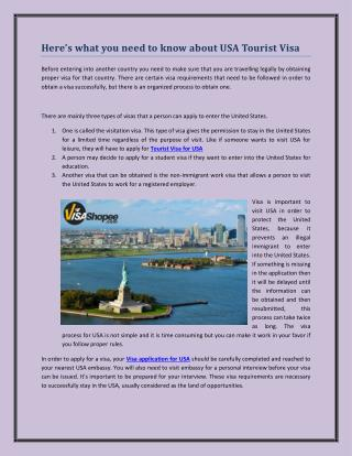 Here's what you need to know about USA Tourist Visa