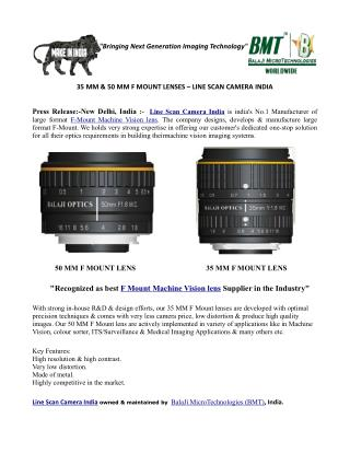 35 MM & 50 MM F MOUNT LENS – LINE SCAN CAMERA INDIA