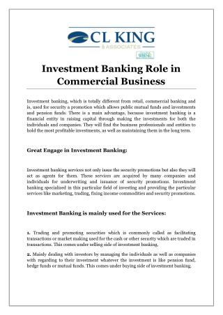 Investment Banking Role in Commercial Business