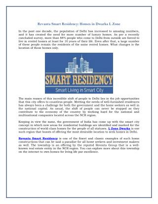 Revanta Smart Residency: Homes in Dwarka L Zone
