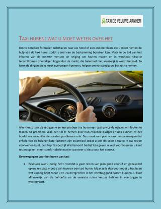 Het vinden van betrouwbare taxi's in Westervoort : Taxi de Veluwe Arnhem