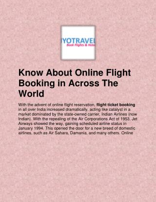 Know About Online Flight Booking in Across The World