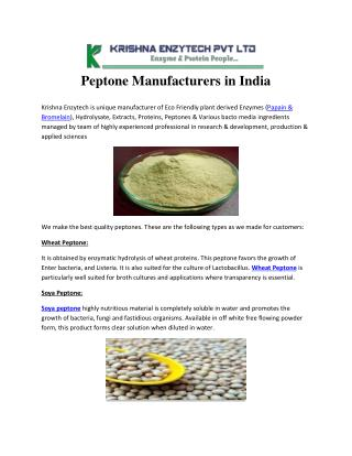 Peptone Manufacturers in India