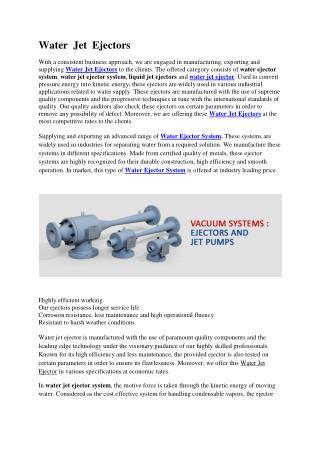 Water  Jet  Ejectors
