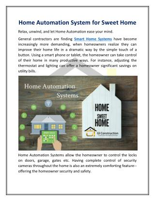 Home Automation System for Sweet Home