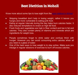Best Dietitian in Mohali