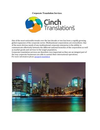 Corporate Translation Services
