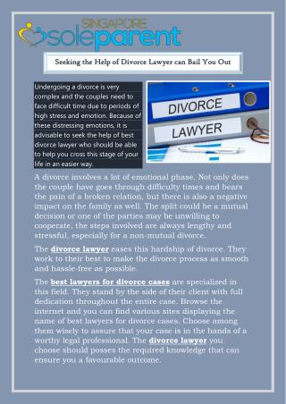 Seeking the Help of Divorce Lawyer can Bail You Out