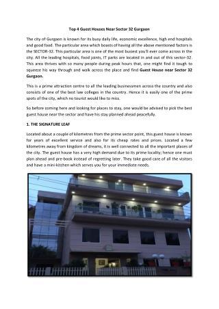 Top 4 Guest Houses Near Sector 32 Gurgaon