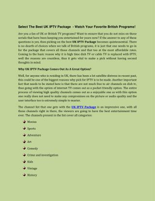 UK IPTV Package