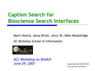 Caption Search for Bioscience Search Interfaces