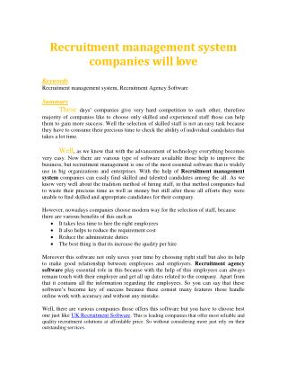 Recruitment management system companies will love