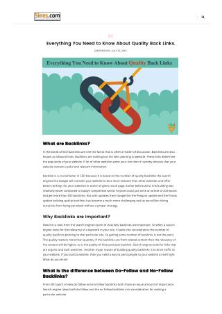 Everything You Need to Know About Quality Back Links.  