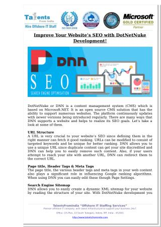 TalentsFromIndia: Improve Your Website's SEO with DotNetNuke Development!